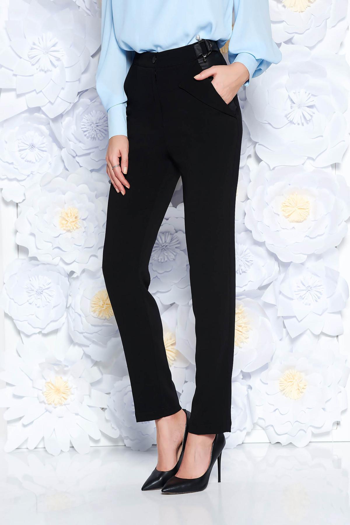 dd6b8c25ae Fekete PrettyGirl nadrág irodai kónikus magas derekú enyhén elasztikus szövet  zsebes