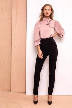 Fekete PrettyGirl nadrág irodai kónikus magas derekú enyhén elasztikus szövet zsebes