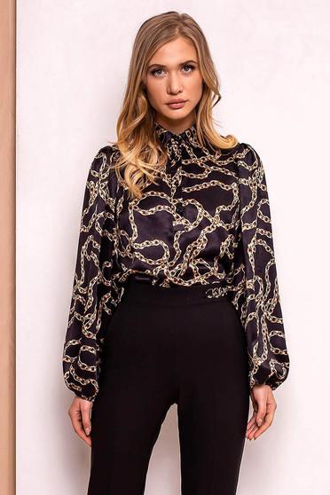 Fekete PrettyGirl elegáns bő szabás női ing lenge anyagból hosszú ujjak 816a58e0ed