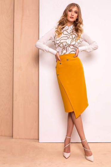 Mustar PrettyGirl szoknya irodai midi ceruza magas derekú enyhén elasztikus szövet belső béléssel
