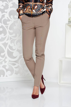 Krém StarShinerS irodai kónikus nadrág enyhén elasztikus szövet normál derekú zsebes
