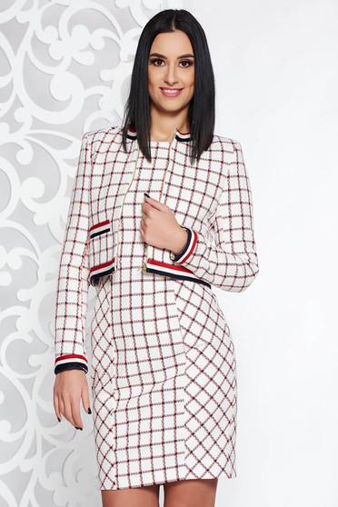 Fehér StarShinerS pamutból készült női kosztüm kockás belső béléssel