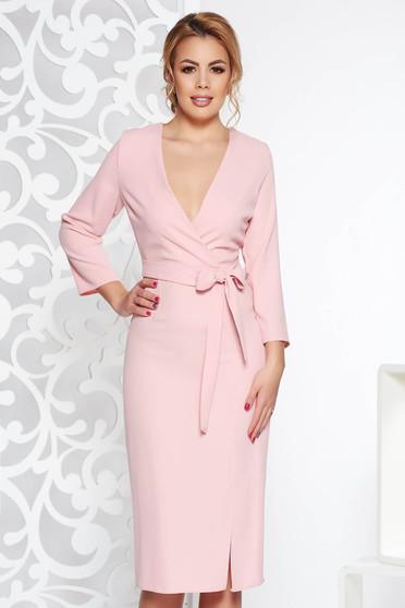 Rózsaszínű StarShinerS elegáns ruha v-dekoltázzsal nem rugalmas anyag övvel  ellátva 6bed14ce63