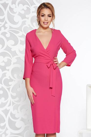 Pink StarShinerS elegáns ruha v-dekoltázzsal nem rugalmas anyag övvel  ellátva 012c560130