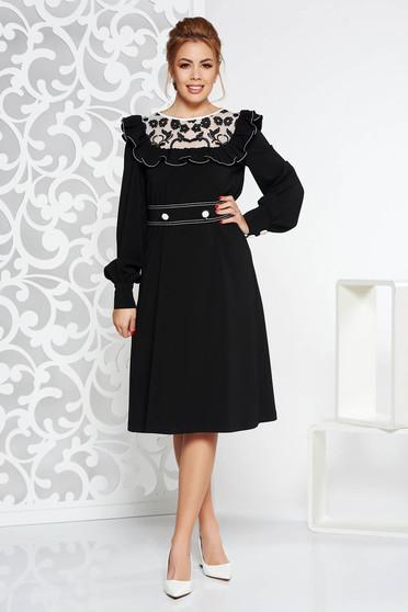 Fekete LaDonna elegáns ruha rugalmatlan szövet fodros csipke díszítéssel  övvel ellátva f9a588fd94