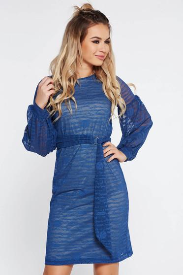 Kék StarShinerS hétköznapi ruha övvel ellátva belső béléssel