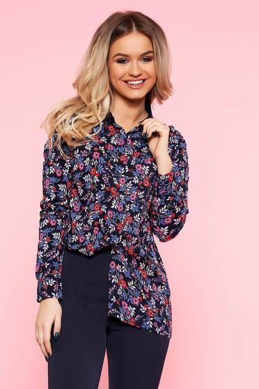 ab253816f1 Sötétkék Top Secret casual bő szabású női ing lenge anyagból virágmintás