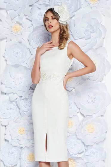 Fehér StarShinerS ruha ceruza enyhén rugalmas anyag belső béléssel csipkés  és flitteres díszítés alkalmi 2e31c0418c