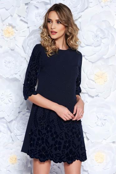 Sötétkék ruha elegáns bő szabású enyhén elasztikus szövet gyöngy díszítéssel 211beaff15