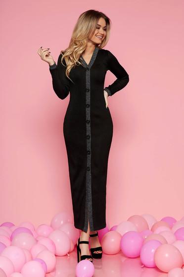 2094efd5ab Fekete party ruha enyhén rugalmas anyag belső béléssel szűk szabással