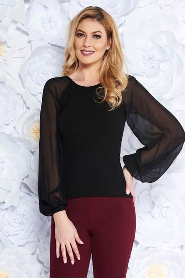 Fekete StarShinerS női blúz elegáns enyhén rugalmas anyag fátyol újjakkal szűk szabás