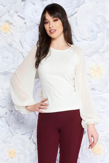 Fehér StarShinerS női blúz elegáns enyhén rugalmas anyag fátyol újjakkal szűk szabás