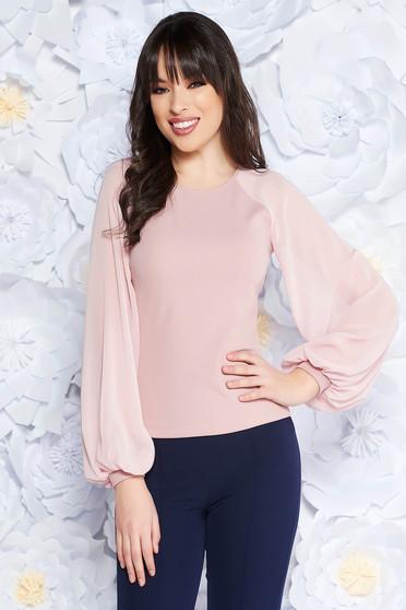 Pink StarShinerS női blúz elegáns enyhén rugalmas anyag fátyol újjakkal szűk szabás