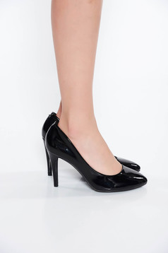 Fekete cipő irodai lakkozott öko bőr enyhén kikerekitett orrú
