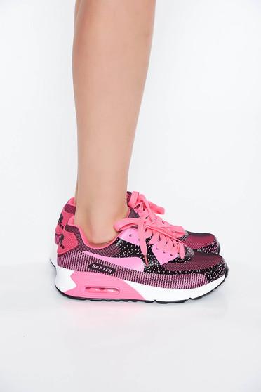 Pink casual lapos talpú sport cipő fűzővel köthető meg