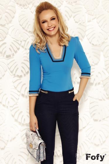 Kék Fofy női ing irodai szűk szabás enyhén elasztikus pamut