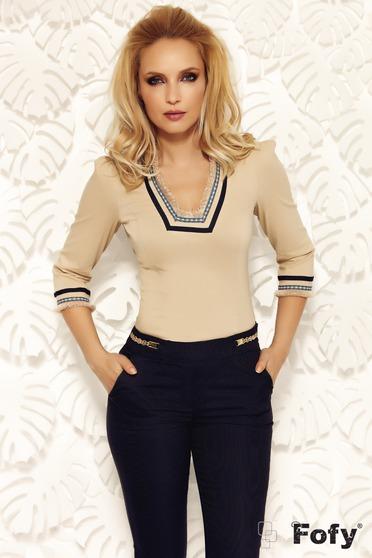 Krém Fofy női ing irodai szűk szabás enyhén elasztikus pamut