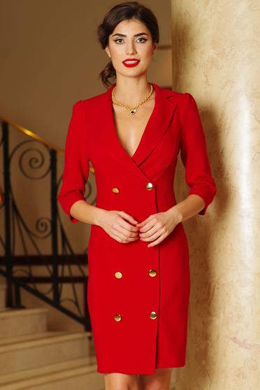 Piros Artista ruha elegáns zakó tipusú enyhén elasztikus szövet átfedéses gomb kiegészítőkkel