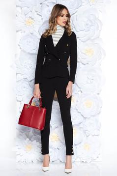 Karcsúsított szabású gombokkal zárható fekete női kosztüm