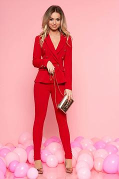 Karcsusított szabás gombokkal zárható piros női kosztüm