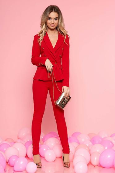 Karcsusított szabás gombokkal zárható piros női kosztüm 2210e297be