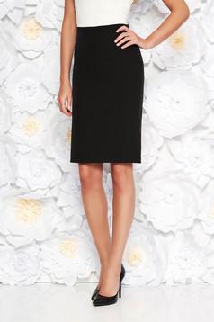 Fekete StarShinerS irodai szoknya egyenes magas derekú enyhén rugalmas szövet belső béléssel