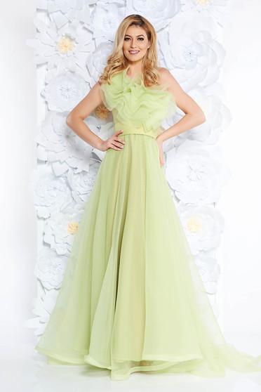 Világos zöld Ana Radu ruha tüll belső béléssel fodrok a mellrészen egy vállas