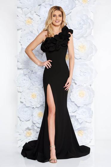 Fekete Ana Radu alkalmi hosszú szirén tipusú ruha fodros szűk szabás rugalmas és finom anyag