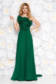 Zöld Ana Radu fátyol ruha belső béléssel fodros övvel ellátva egy vállas
