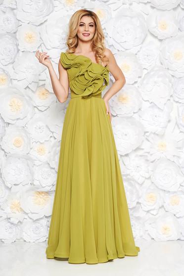 Világos zöld Ana Radu fátyol ruha belső béléssel fodros övvel ellátva egy vállas fazon