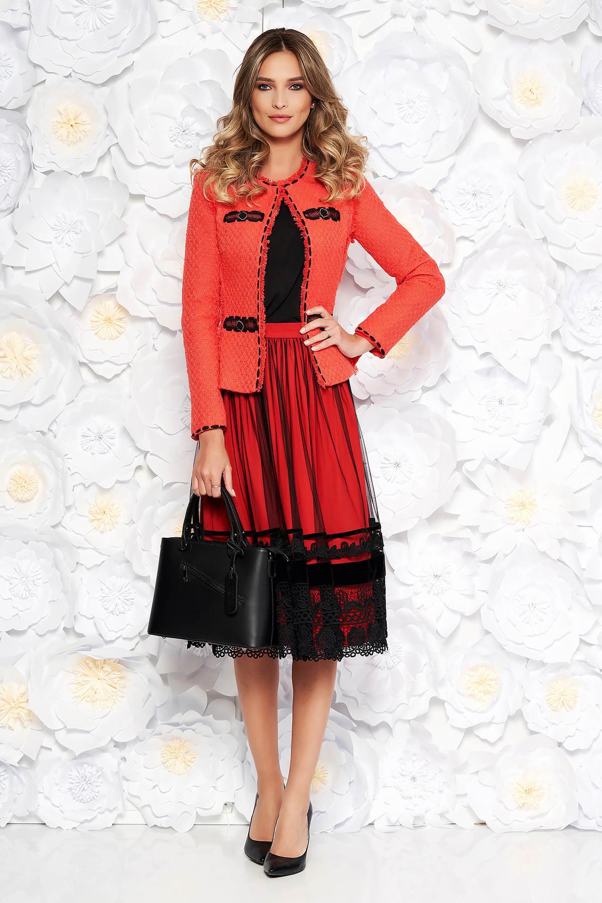 187ad02cb2 Korall LaDonna elegáns női kosztüm nem elasztikus pamut belső béléssel  karcsusított szabás