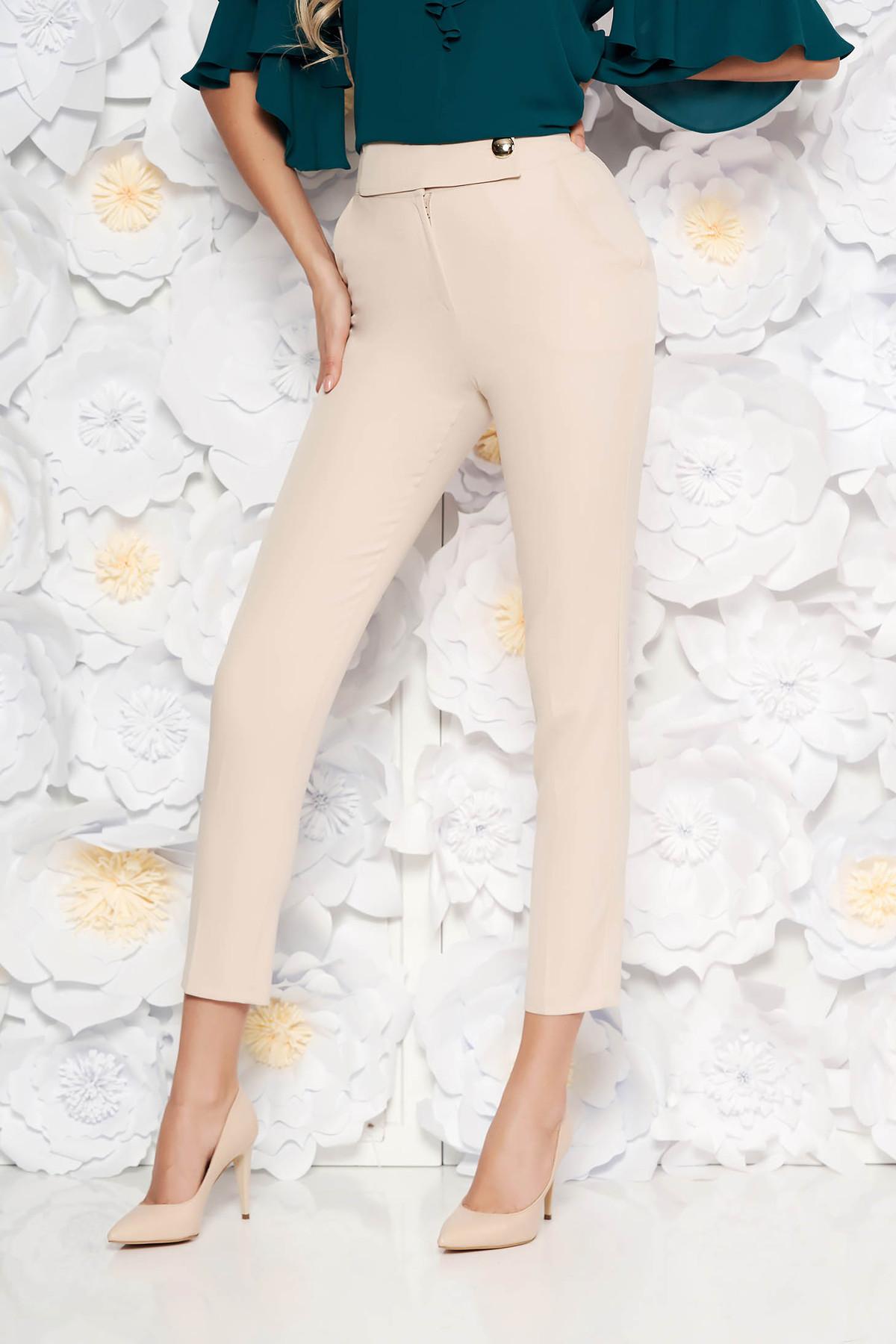 6000286812 Rózsaszínű PrettyGirl irodai kónikus nadrág magas derekú enyhén elasztikus  szövet zsebes