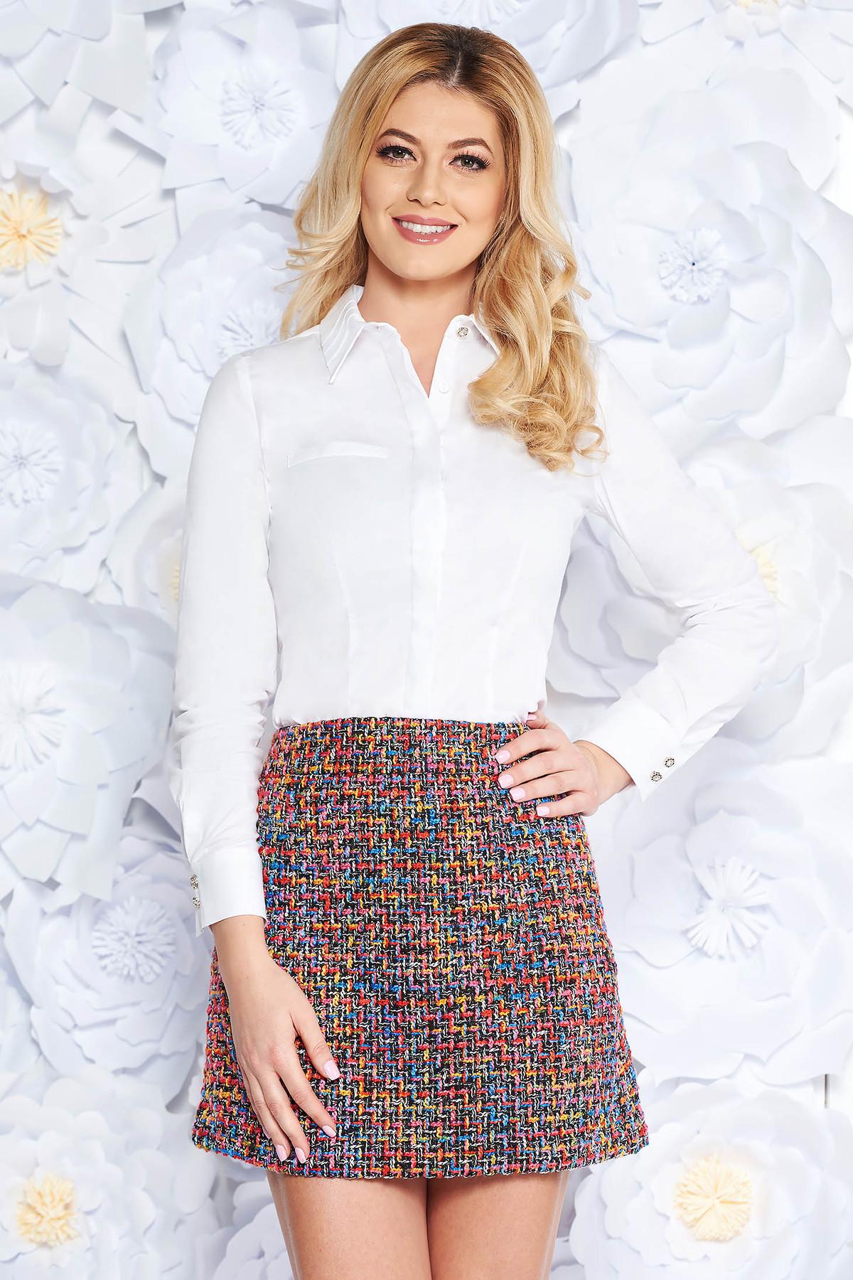 bf74327954 Fehér női ing irodai szűk szabás enyhén elasztikus pamut hosszú ujjak
