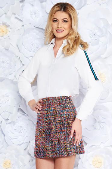 Fehér női ing casual enyhén elasztikus pamut hosszú ujjak bő szabású