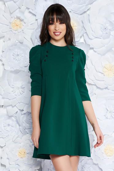 Zöld hétköznapi bő szabású háromnegyedes ujjú ruha enyhén elasztikus szövet  gomb kiegészítőkkel 9c86bd9d99