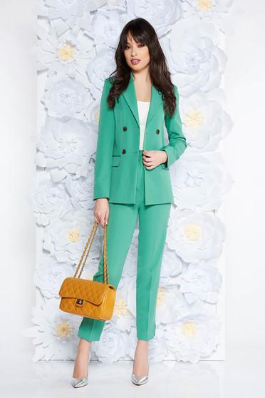 Világos zöld StarShinerS irodai női kosztüm nadrággal rugalmatlan szövet zsebekkel