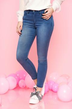 Kék Top Secret casual nadrág farmerarnyagból szűk szabás