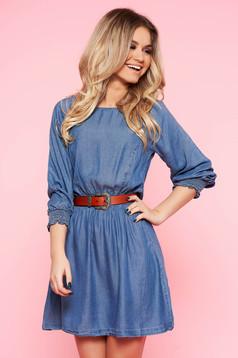 Kék Top Secret hétköznapi harang ruha farmerarnyagból derékban rugalmas