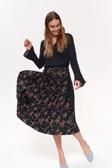 Fekete Top Secret casual harang szoknya magas derekú virágmintás díszítéssel