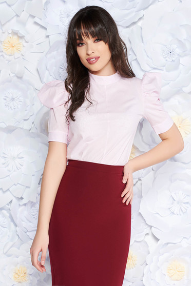 Világos rózsaszín PrettyGirl irodai női blúz nem elasztikus pamut bő szabású