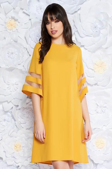 Sárga ruha elegáns bő szabású rugalmatlan szövet bő ujjú