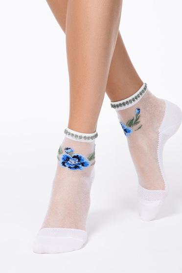 Kék virágmintás zoknik áttetsző anyag lekerekitett sarokkal