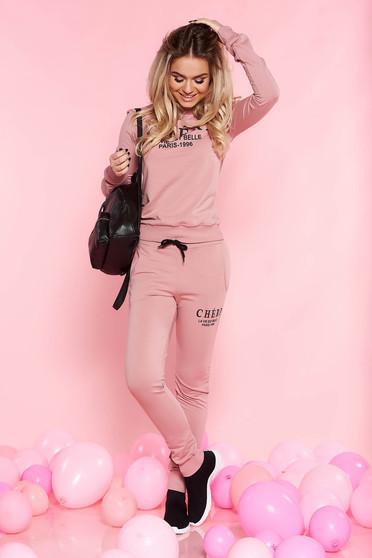 Rózsaszínű SunShine casual szett enyhén elasztikus pamut zsebes hosszú ujjak