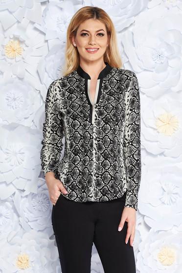 Fekete irodai bő szabású női ing lenge anyagból v-dekoltázzsal