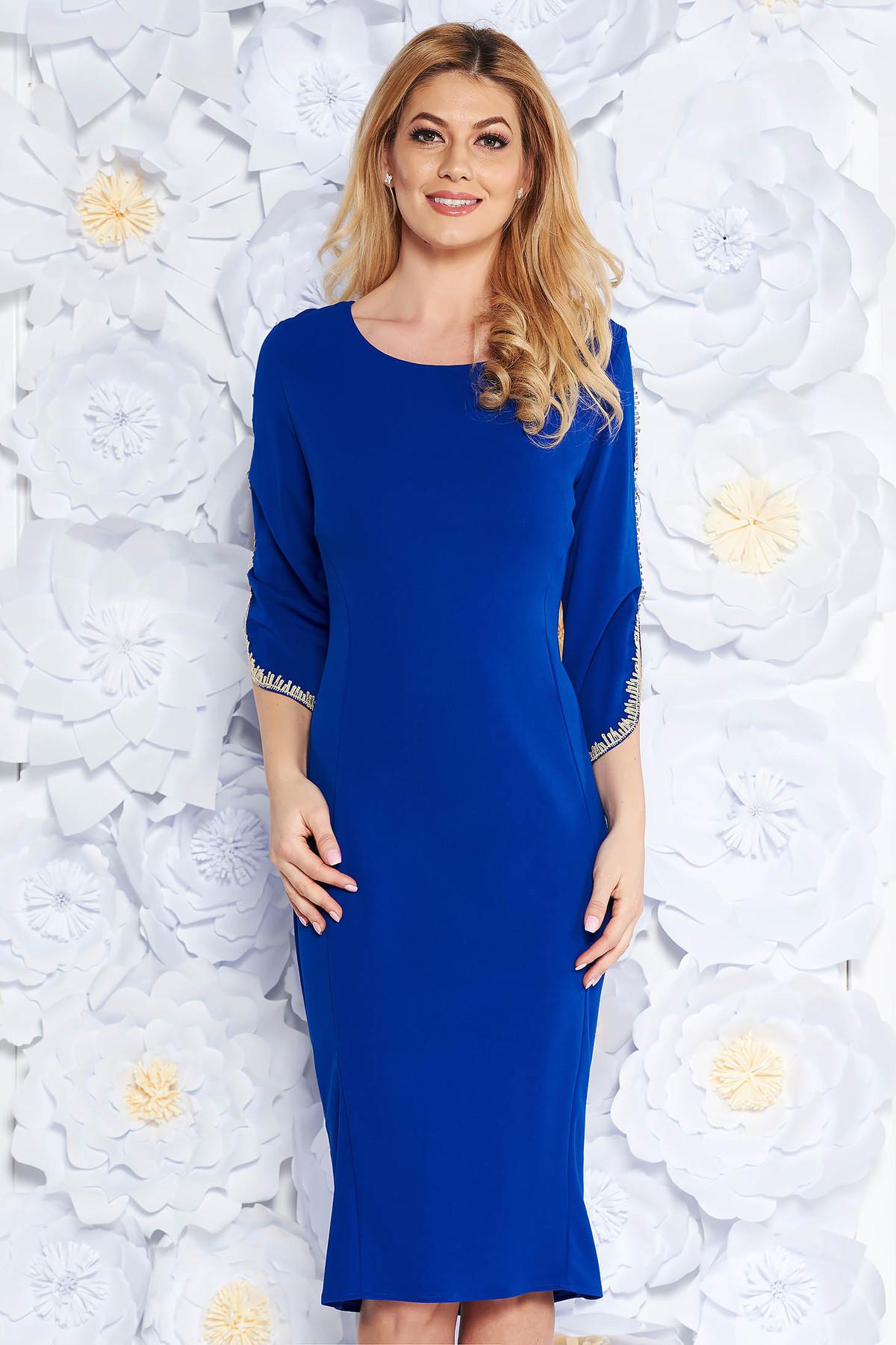 1e57c7f5c4 Kék elegáns ceruza ruha rugalmas anyag hímzett betétekkel háromnegyedes ujjú