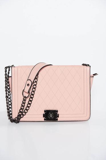Világos rózsaszín casual műbőr táska hosszú lánc típusú pánttal