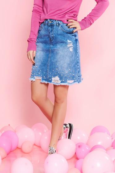 Kék SunShine casual pamutból készült szoknya gyöngy díszítéssel szakadásokkal normál derekú