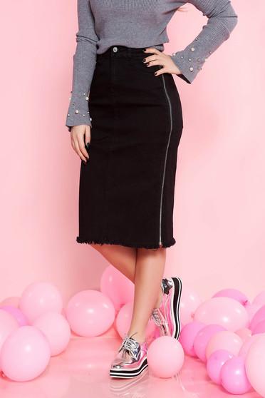 Fekete SunShine casual magas derekú midi szoknya rugalmas pamut cipzárral van ellátva