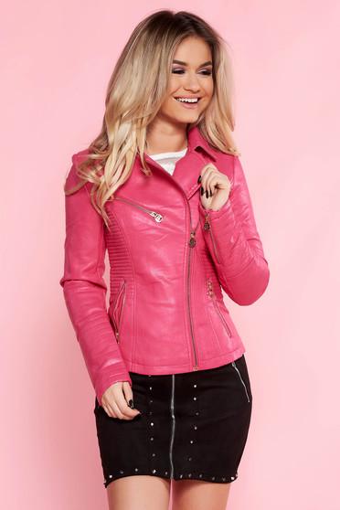 Pink SunShine casual műbőr dzseki belső béléssel cipzáros zsebek
