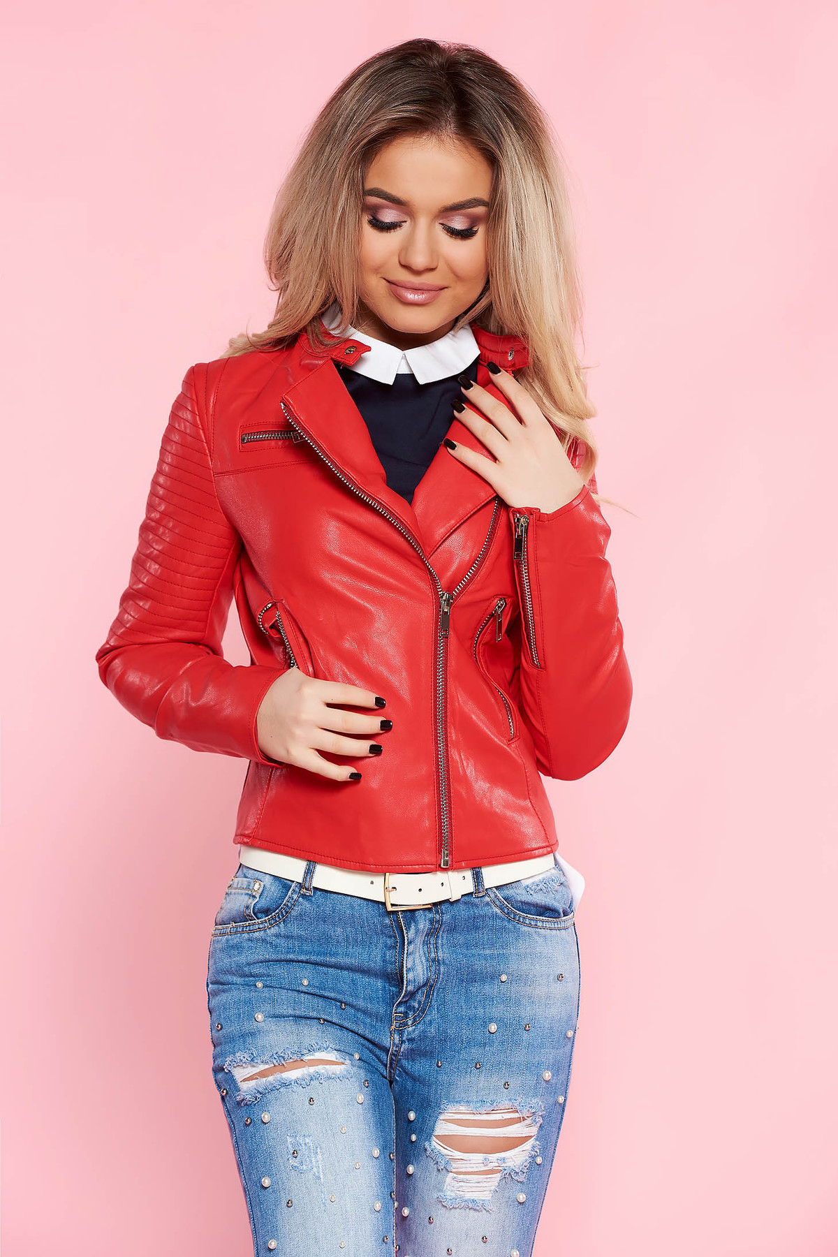 a6077c25e7 Piros SunShine casual műbőr dzseki belső béléssel cipzáros zsebekkel